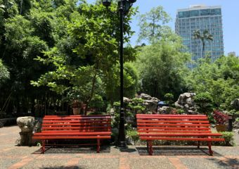 Lou Lim Ieoc Garden Red Benches