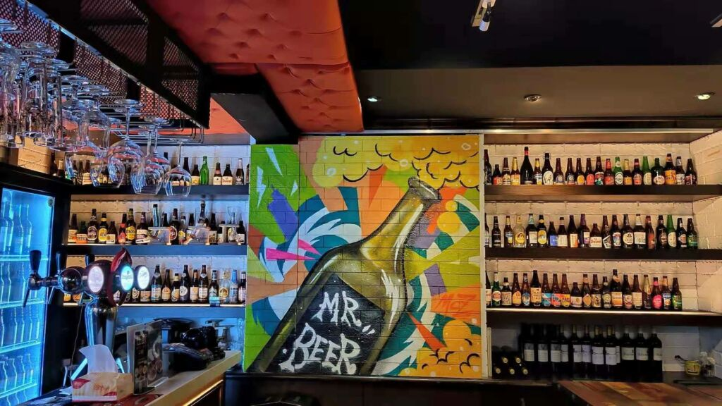 Mr Beer Bar Macau Side Beers on the Wall and Grafitti