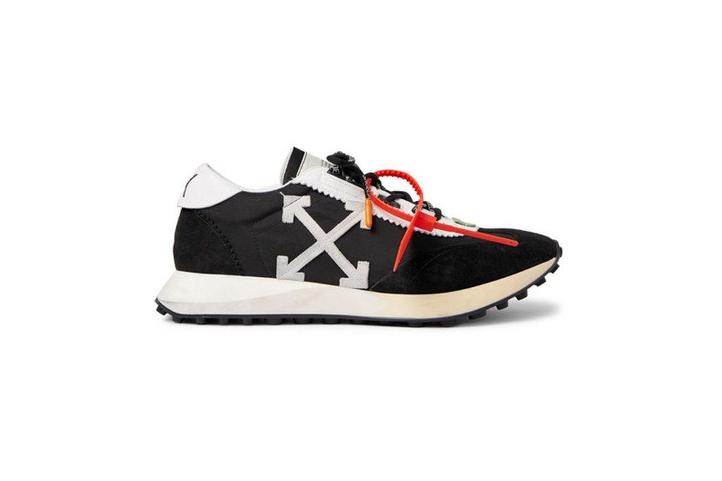 OFF-WHITE-Leather-Trimmed-Shell-And-Suede-Sneakers Fashion Running Shoe