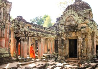 Angkor - monks at a temple