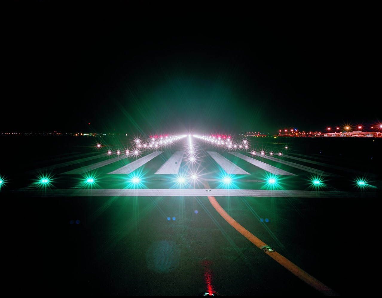 2nd Exhibition Portuguese Speaking Countries | Edgar Martins /Lights at the threshold of the runway, Faro Airport (from the series Approaches)/ 2006