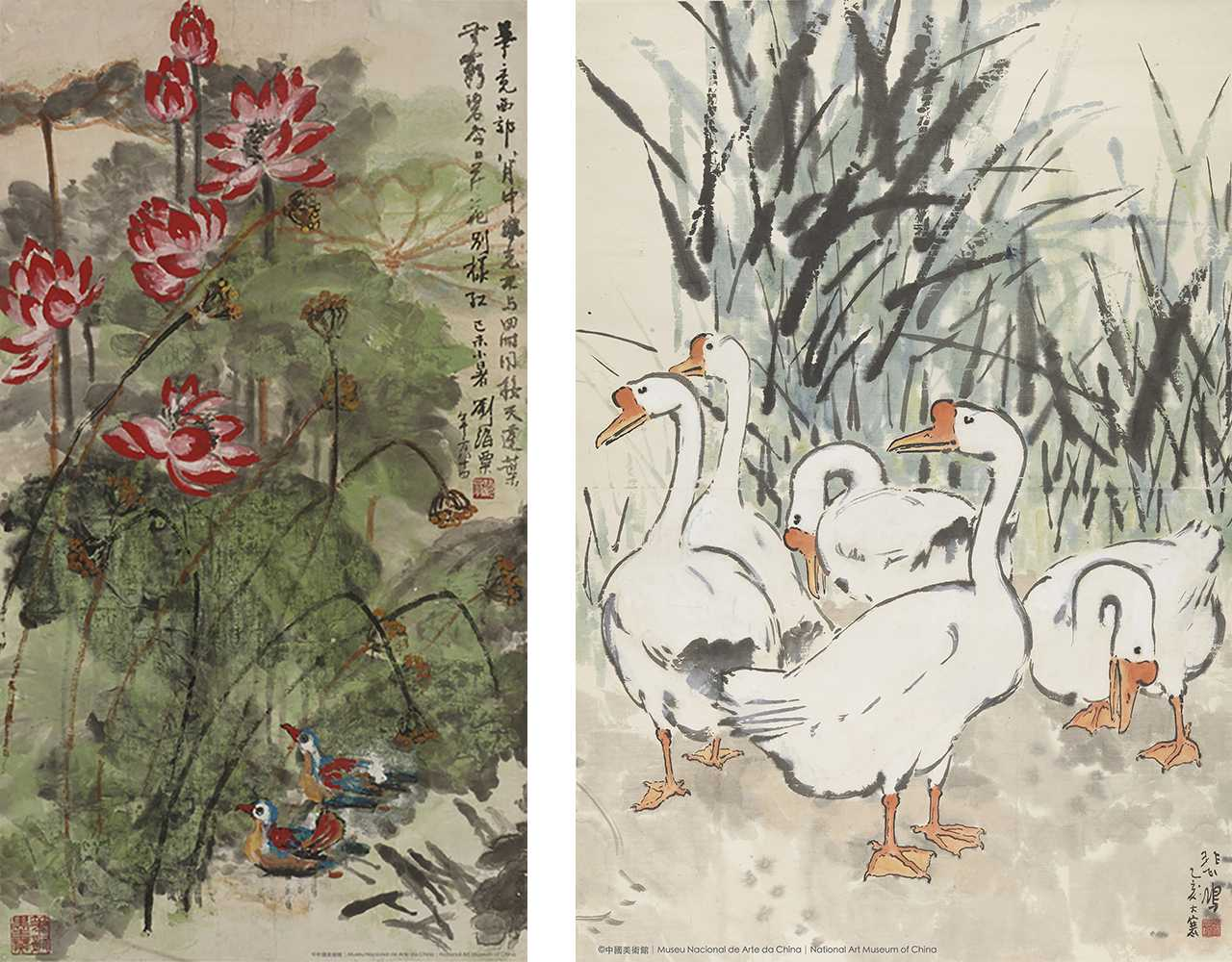 Liu Haisu, Mandarin Ducks and Red Lotus Xu Beihong, Geese