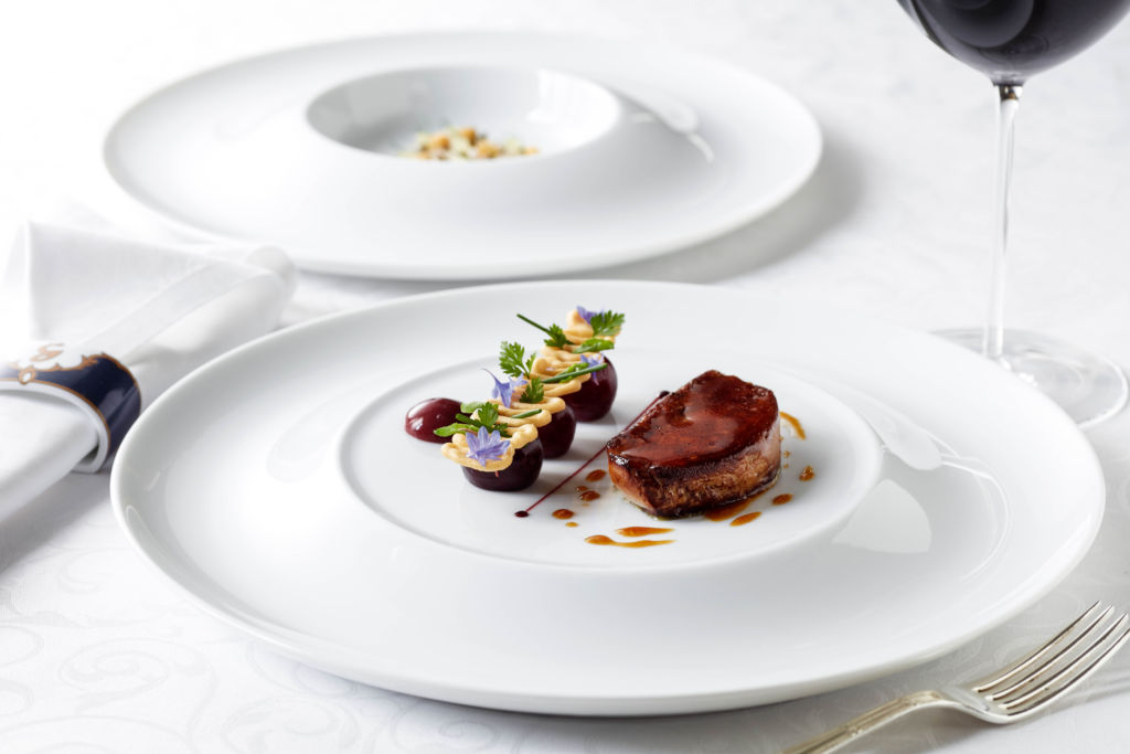 Gaddi's Degustation Menu – Pan-seared duck foie gras with burlat cherries, pecans and sumac hong kong hot tables august