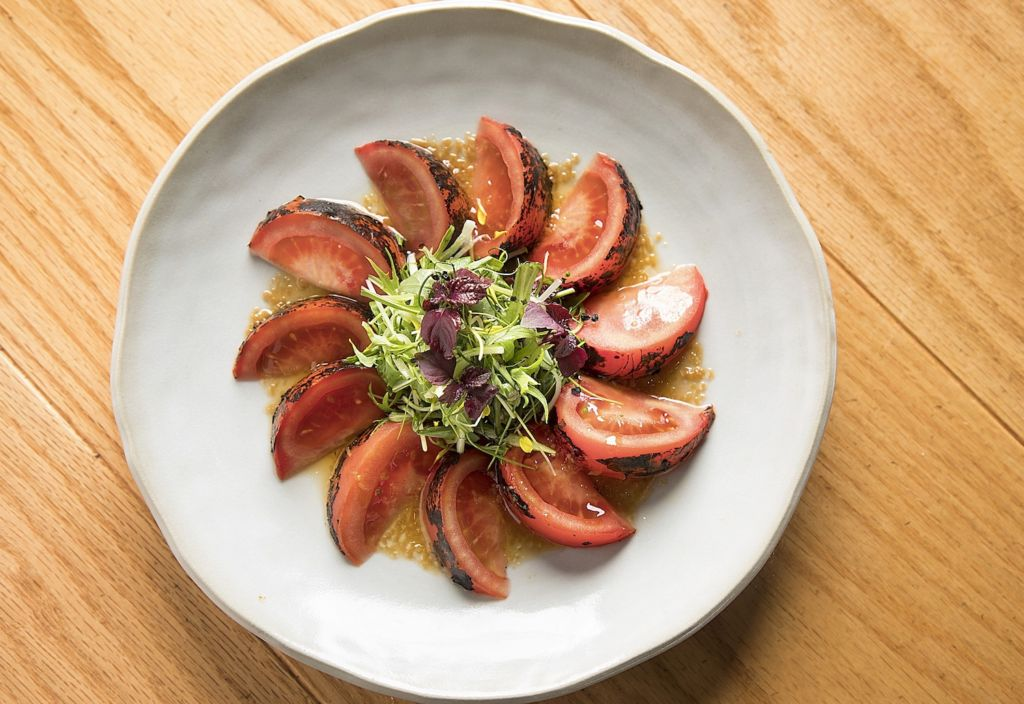 Zuma Hong Kong – Tomato salad with roasted eggplant and ginger dressing (1)
