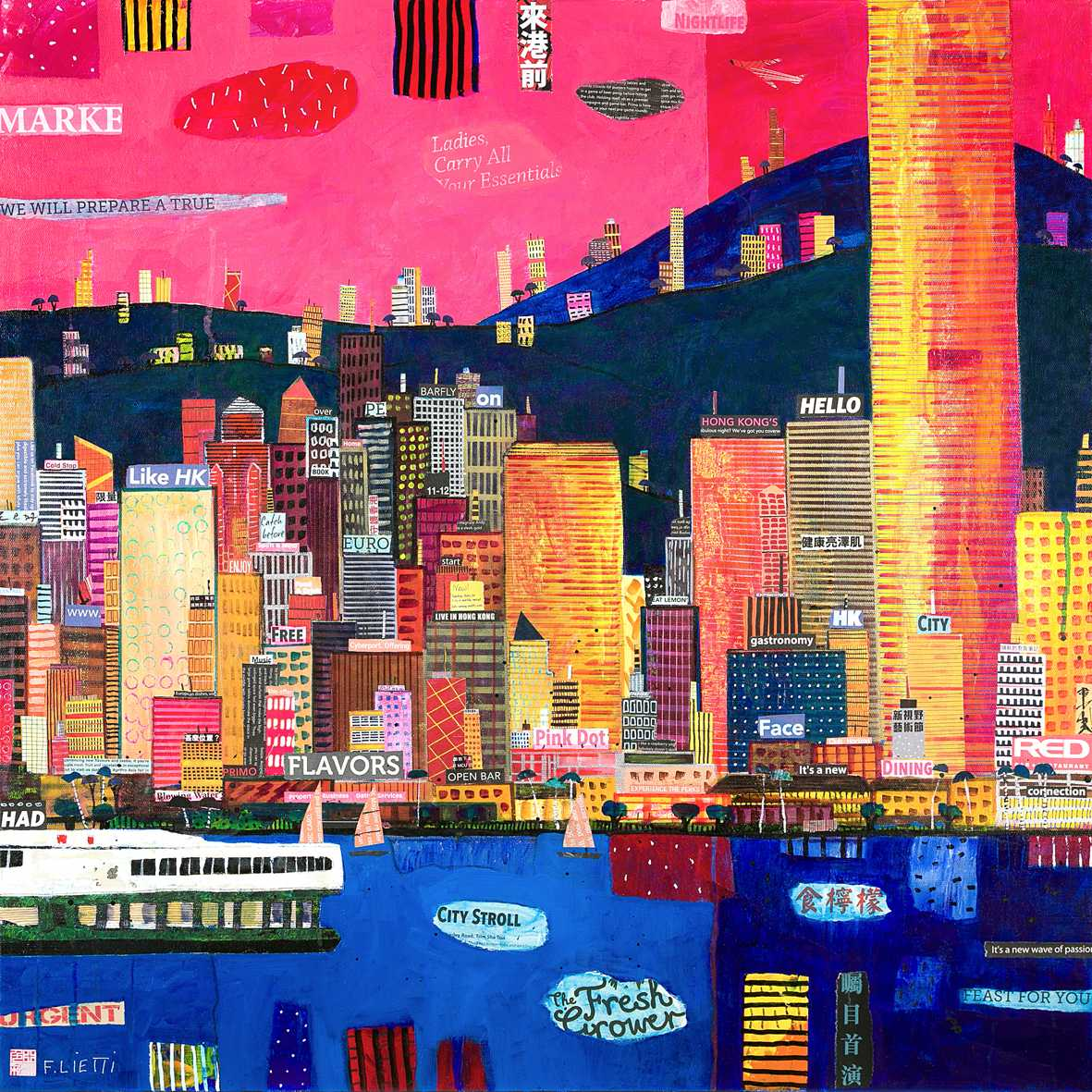city collage art macao