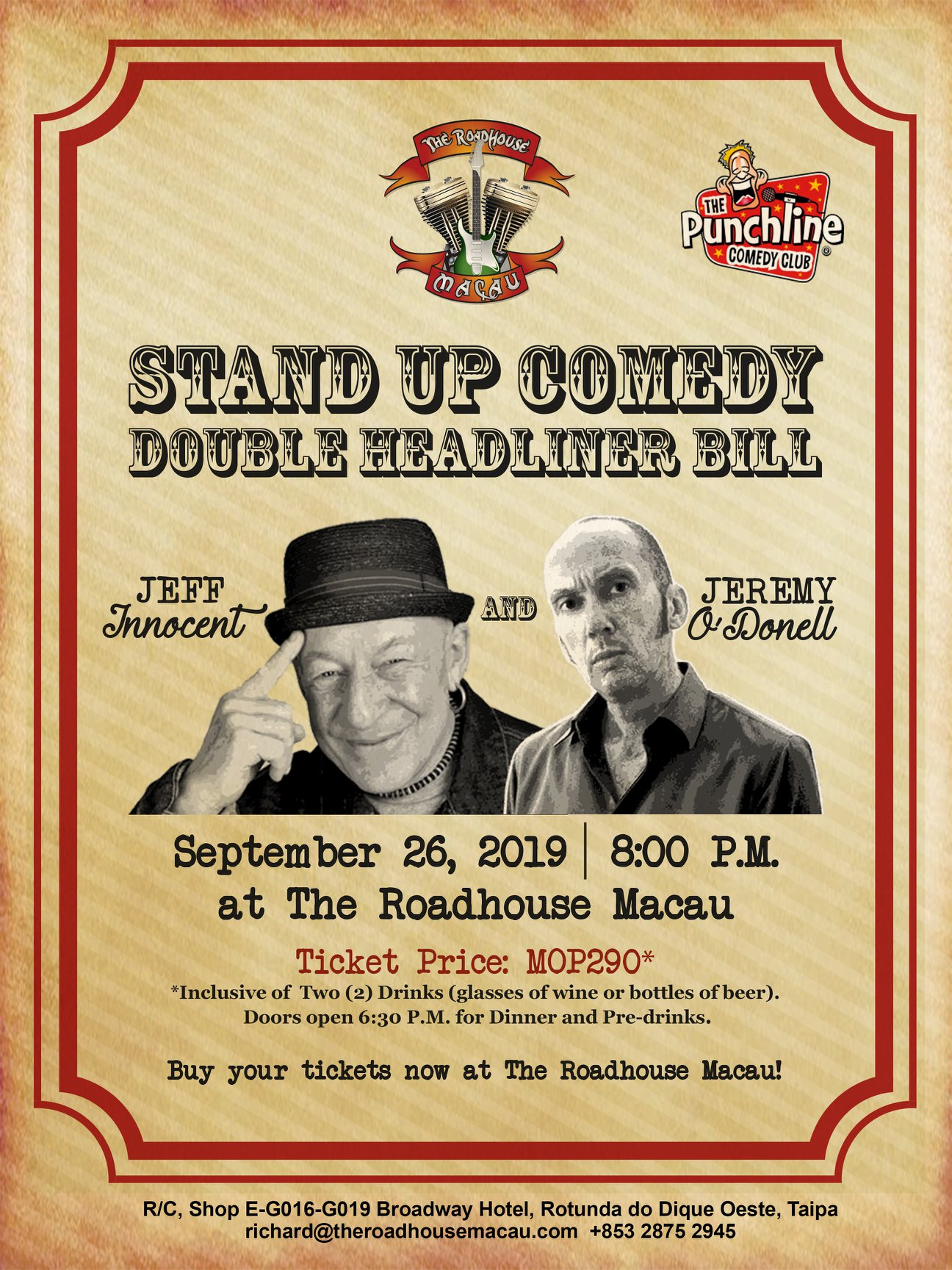 Stand Up Comedy At The Roadhouse Macau september events macau