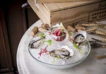 Arcachon oysters with fresh raspberry dressing Brasserie Bordeaux Menu