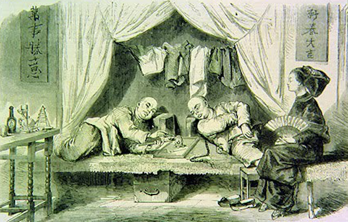 Opium Smoking in Macau circa 19th century