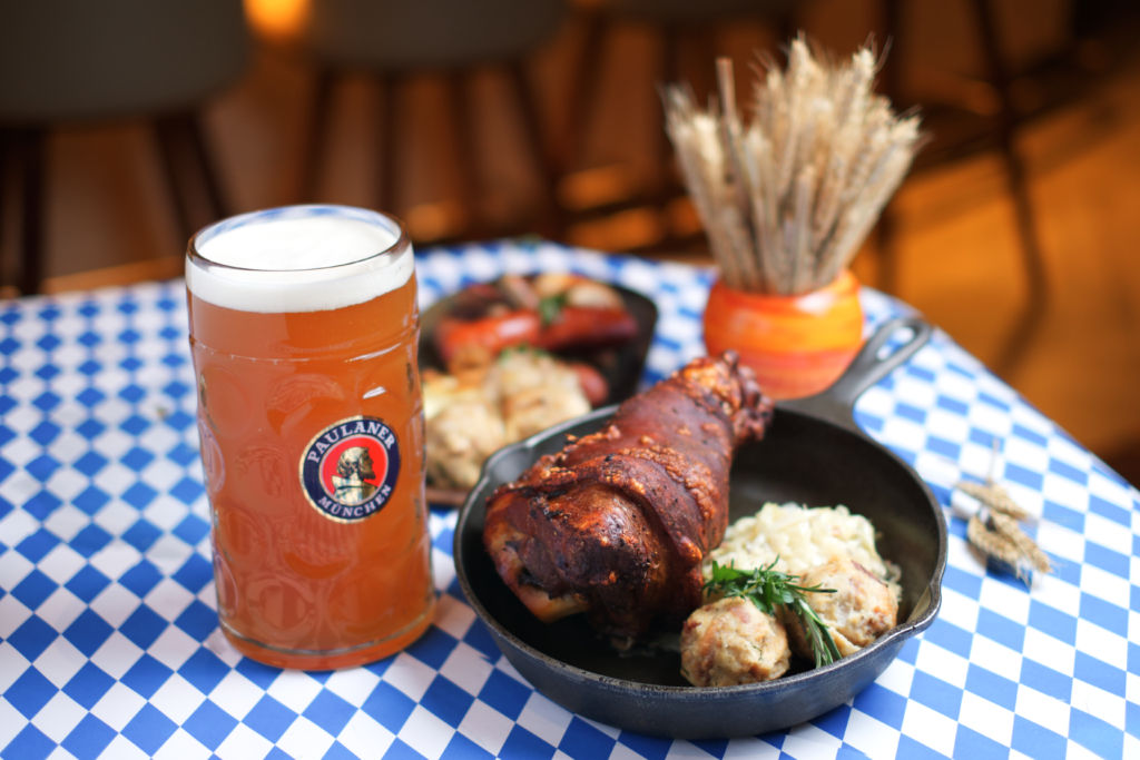 Palms German Beer Festival Roasted Pork Knuckle with Cabbage Salad and Bread Dumplings