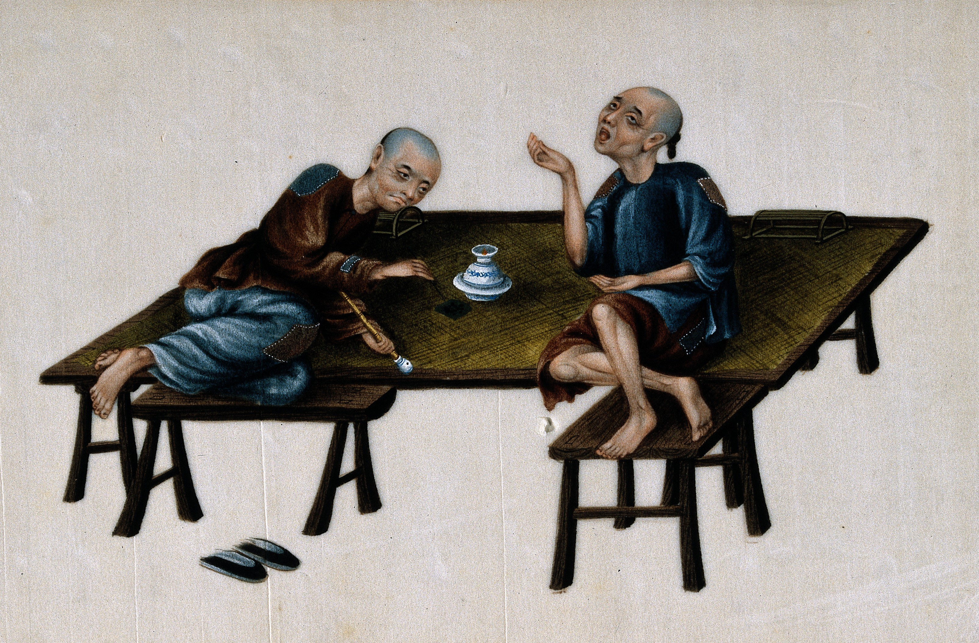 V0019165 Two poor Chinese opium smokers. Gouache painting on rice-pap