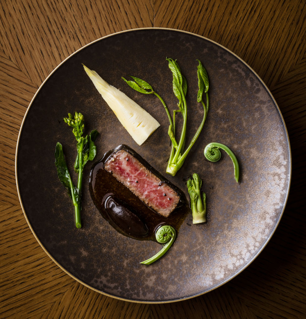 AMBER THE LANDMARK HK Wagyu Beef A5 Sirloin ˚ Red Miso ˚ Black Garlic ˚ Sansai Spring Mountain Vegetables