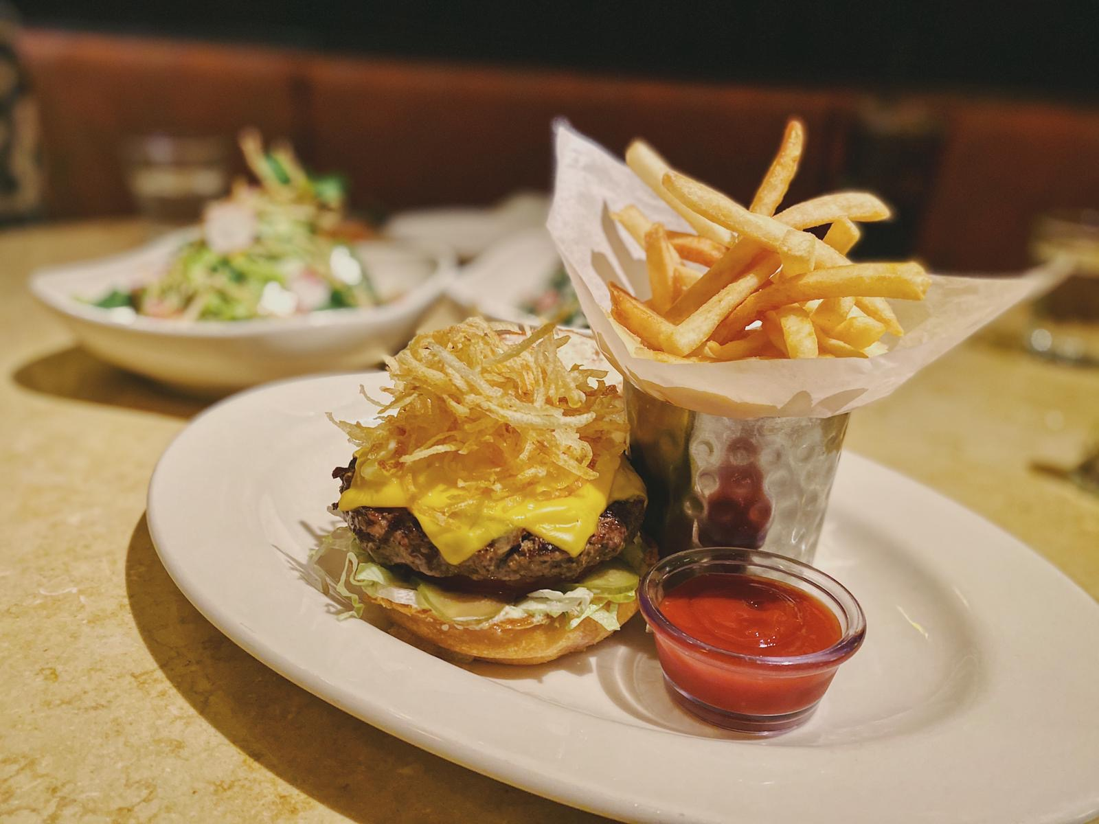 American Burger from Cheesecake Factory with Fries Macau Lifestyle