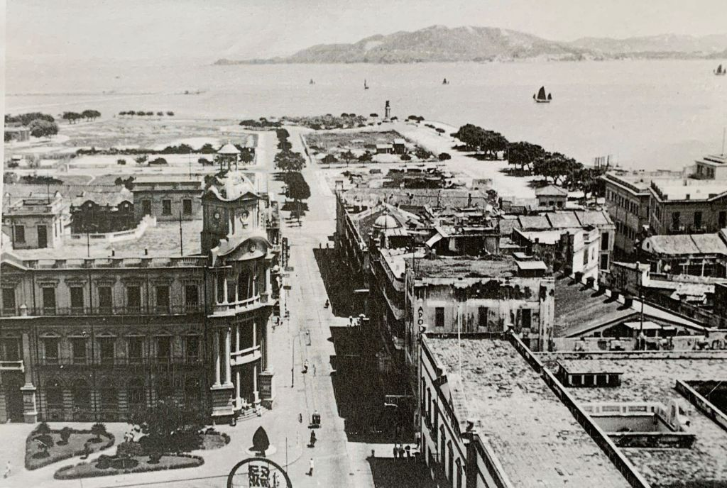 Avenida Almeida Ribeiro Overlooking Hotel Lisboa Side, 1930s, Photo by Lee Yuk Tin Macau Street names