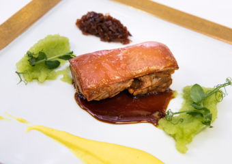 Grand Lisboa Casa Don Alfonso Suckling black pork with sweet tamarind, celery, turmeric mashed potatoes and Tropea red onion chutneyturmeric mashed potatoes and Tropea red onion chutney