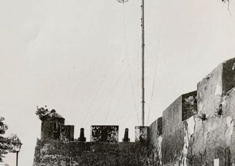 June 25 1984 Typhoon Hoisting Signal at Mount Fortress Credits Gabinete de Comunicacao Social Source Macao Archives