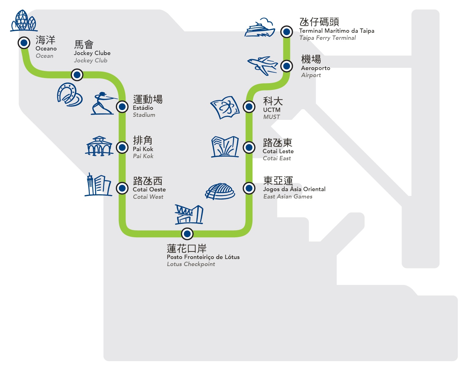 Macao Light Rail Route from Ocean Gardens to Taipa Ferry Terminal