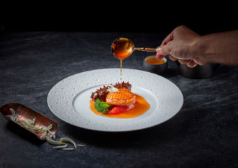 Stewed abalone and Japanese sea cucumber with snow chrysanthemum and tomato from Galaxy Fuel Up For Sucess Dish