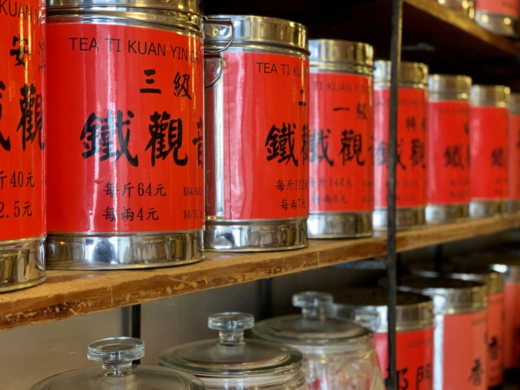 Va Lun Co Tea Shop Interior Tea Cans Shelf Detail Macau Lifestyle