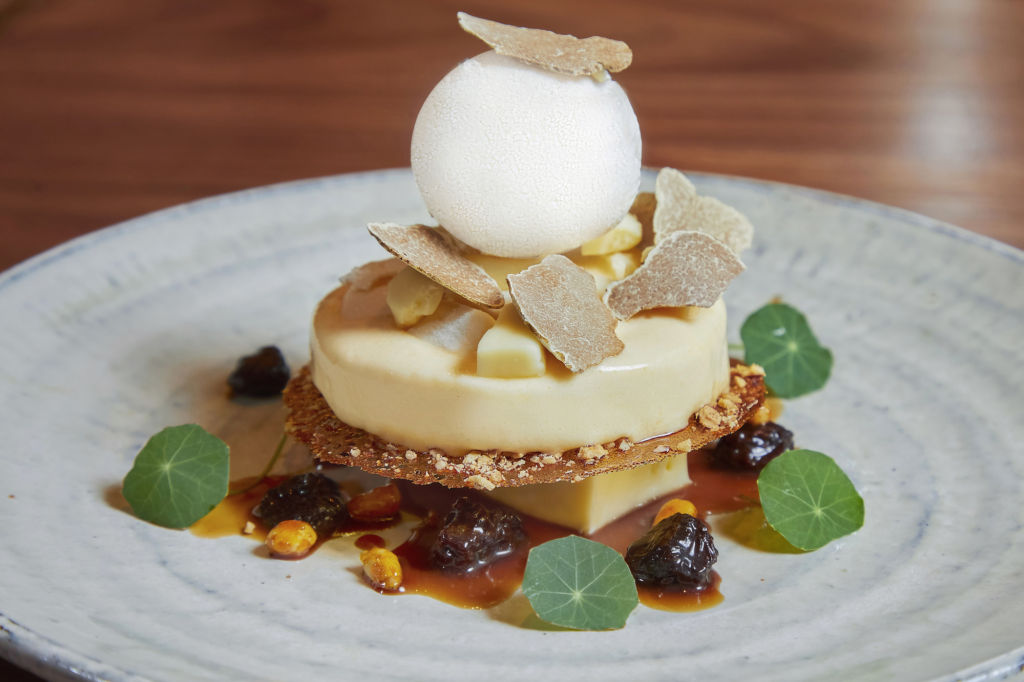 ZUMA White truffle and cheese pancake soufflé with caramelised pecan crunch and lemon sorbet – HKD390