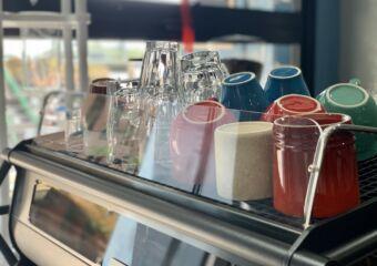 Amigos Coffee Roaster Interior Mugs Details Shot Macau Lifestyle