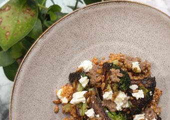 february hong kong hot tables cornerstone charred brocolli with feta, couscous and sunflower seeds