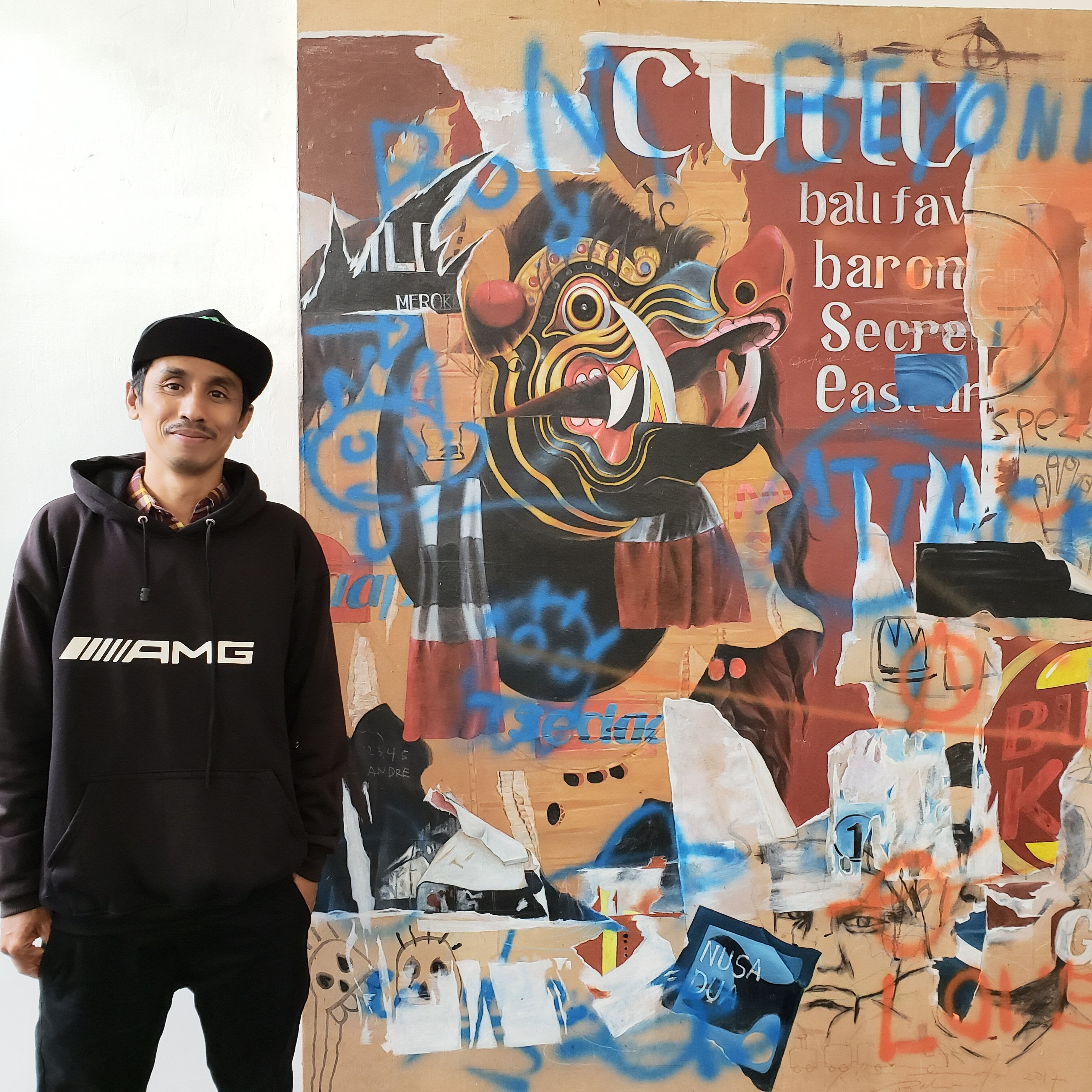 I Nyoman Suarnata with his painting Exhibition in Casa Garden