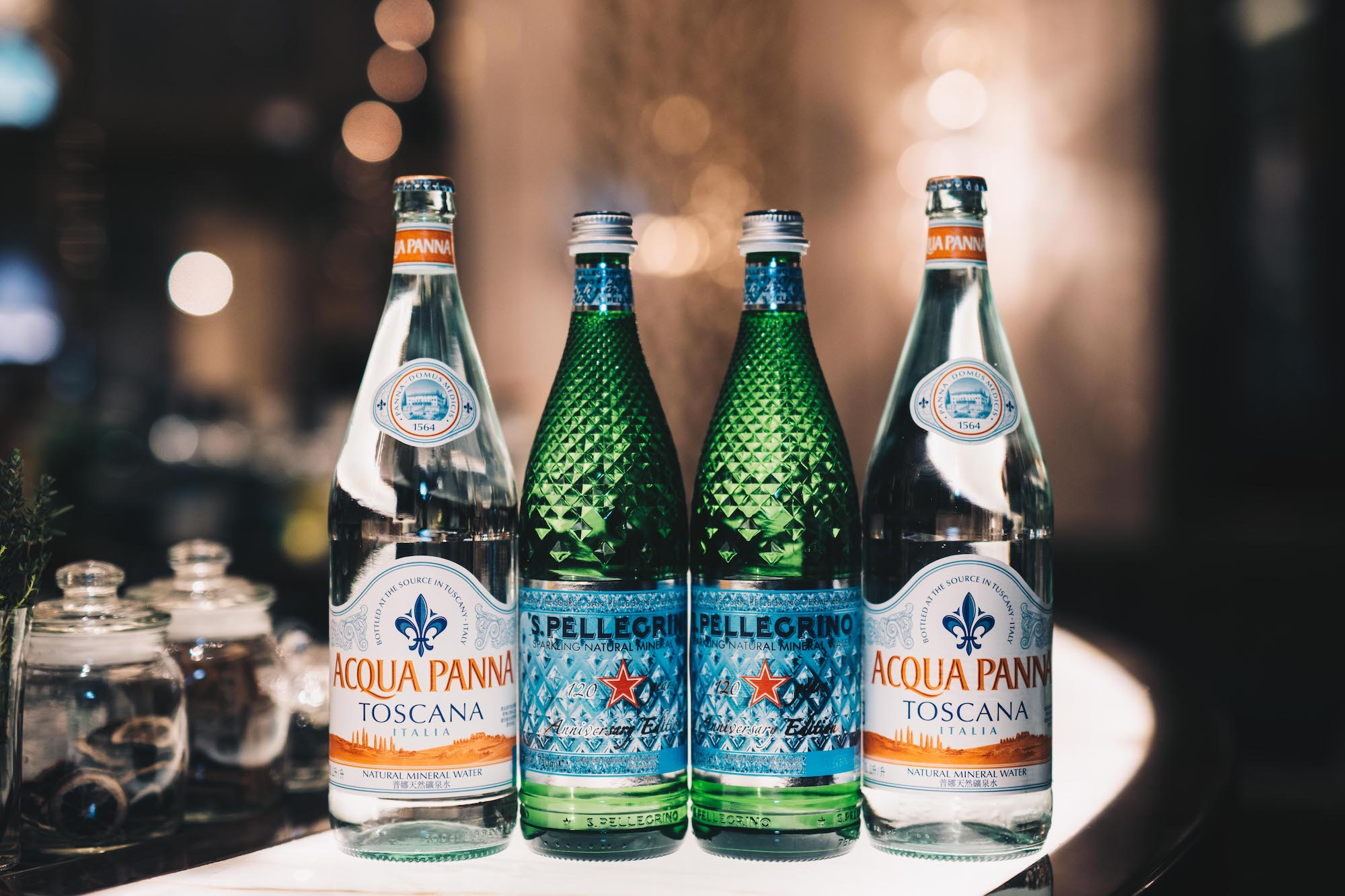 S.Pellegrino and Acqua Panna water bottles