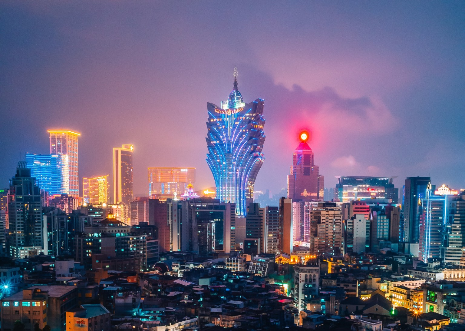 Macau nightscape Grand Lisboa
