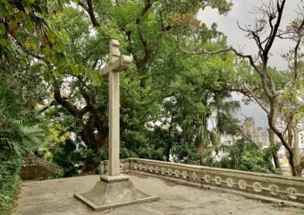 Penha Hill Church Exterior Shot Cross Statue Detail Macau Lifestyle