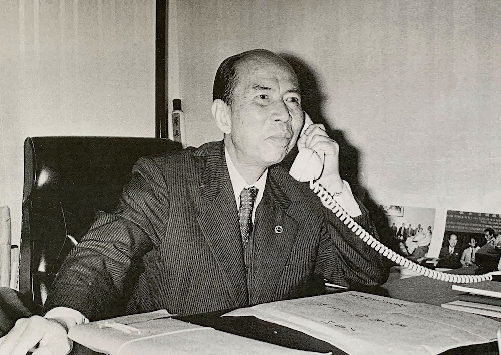 Ma Man Kei Talking on the Phone in his Office Source Macao Archives