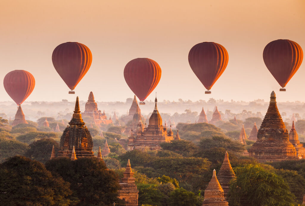 Balloon over plain of Bagan in misty morning, Myanmar Southeast Asia destinations