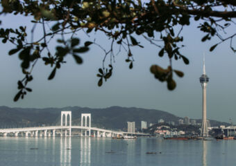 Macau Tower and Sai Van Bridge view from Taipa