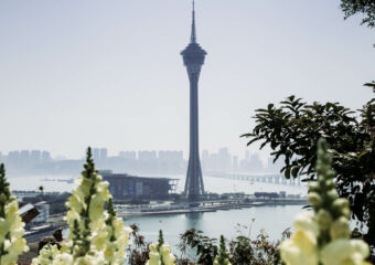Macau Tower vertical shot from afar