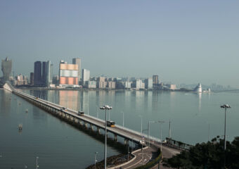 Macau skyline and Nobre de Carvalho Bridge