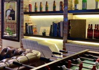 Cathedral Cafe Restaurant Fooseball and Bottles Downstairs Macau Lifestyle