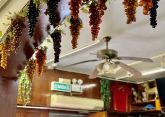 Petisqueira Interior Decorative Grapes in the Ceiling Detail and Fan Macau Lifestyle
