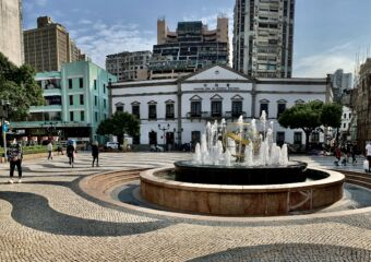 Senado Square Fountain with Senado Behind Macau Lifestyle
