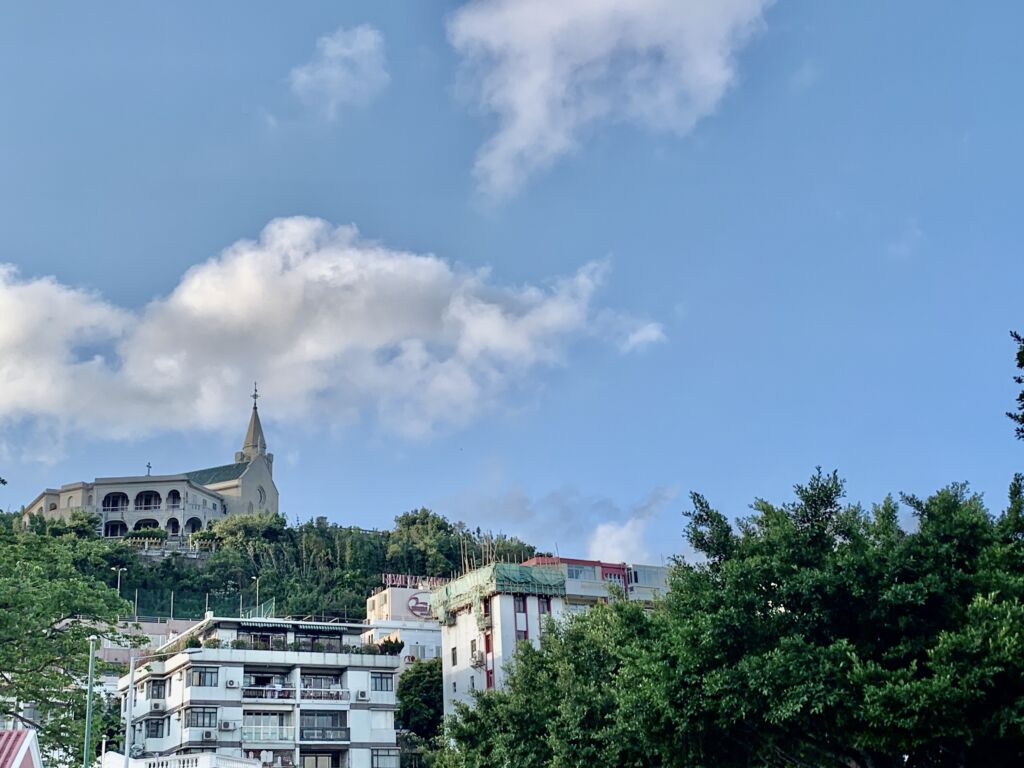 Penha Church from Above with Blue Skies Macau Lifestyle