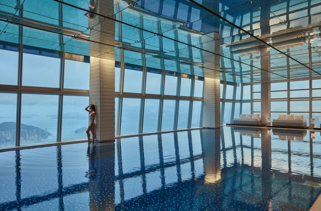 The Ritz-Carlton, Hong Kong Swimming pool in the sky with talent