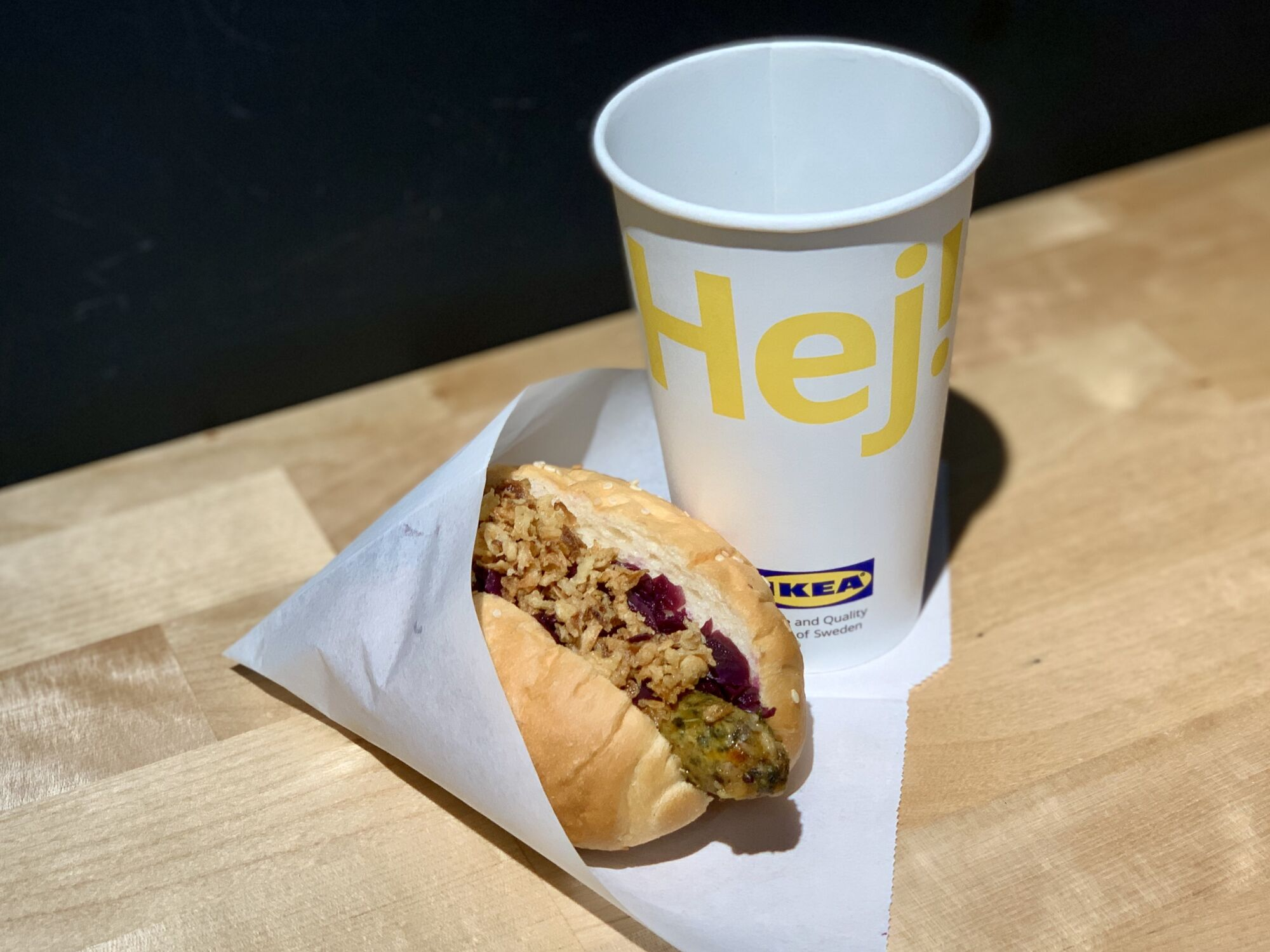 IKEA Vegetarian Hot Dog with Cup on the side Macau Lifestyle