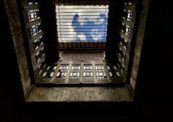 Lou Kau Mansion Ceiling Opening with Blue Sky Macau Interior Lifestyle