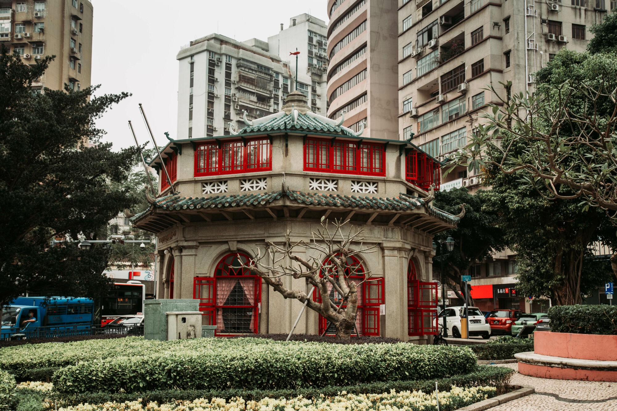 Chinese Octogonal Pavilion from Front View Macau Lifestyle