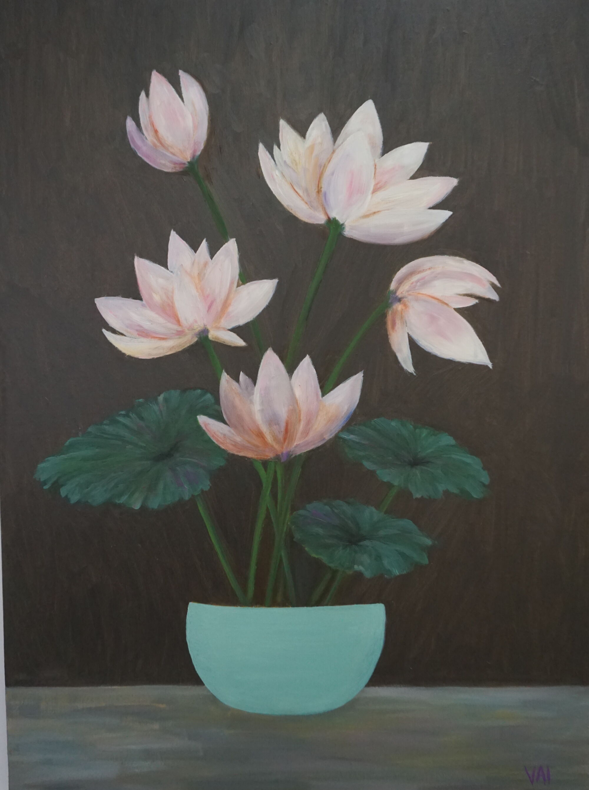 Friendship Chapter Exhibition lotus in blue pot