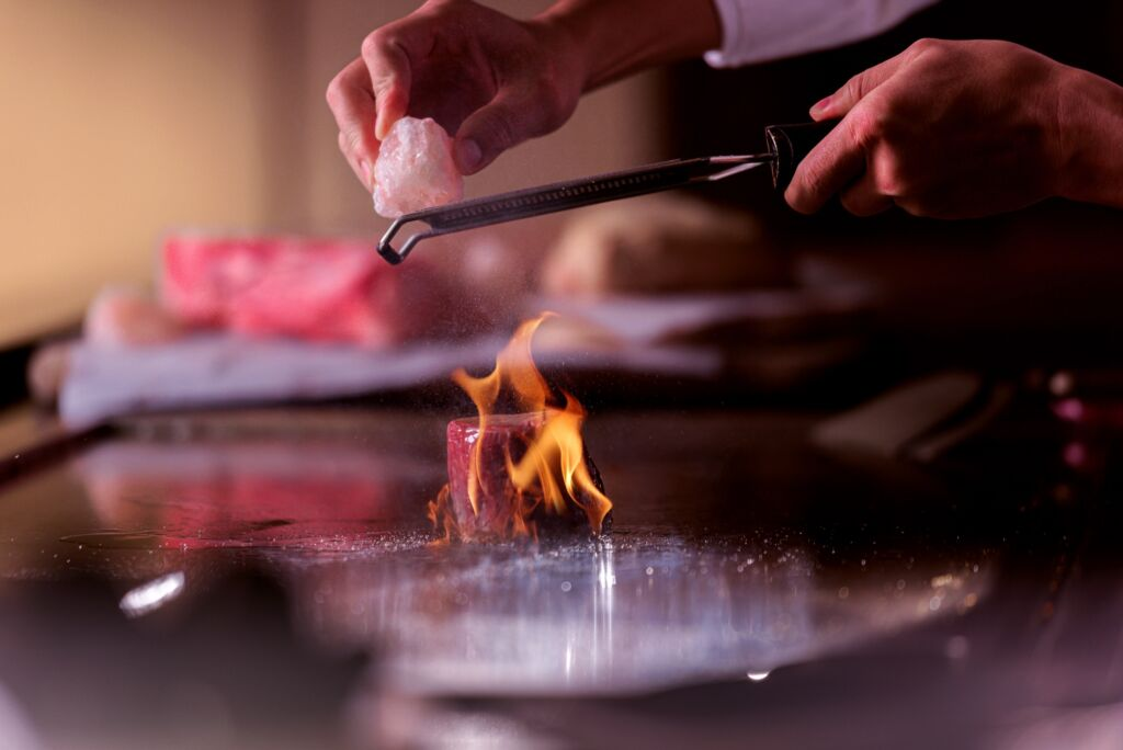 MGM Culinary tour himalayan salt grated over steak