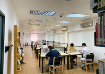 Several students studying in the library at the Macau Historical Archives