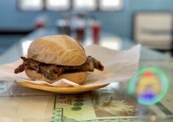 Veng Kei Taipa Village Pork Chop Bun on the table Macau Lifestyle