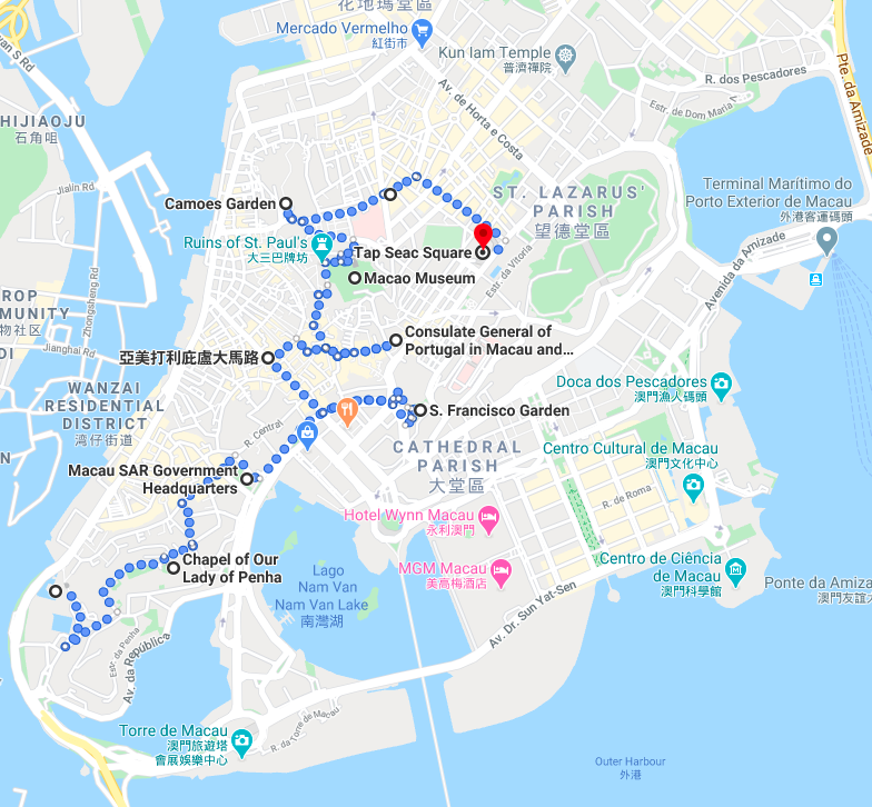 Walking Tour of Modern Macau Peninsula Map 2