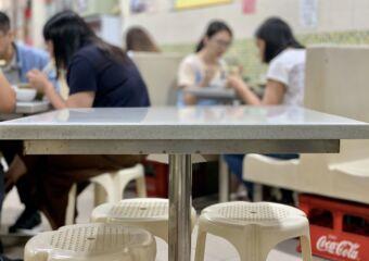Lun Kei Sopa de Fitas Indoor Tables Blurred Background Macau Lifestyle