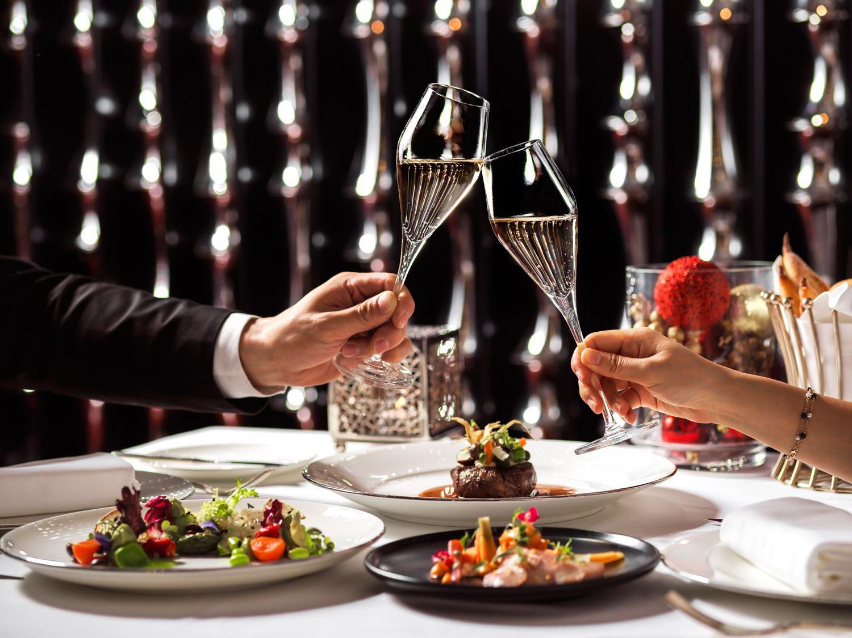 vida rica bar champagne glasses and food at mandarin oriental macau