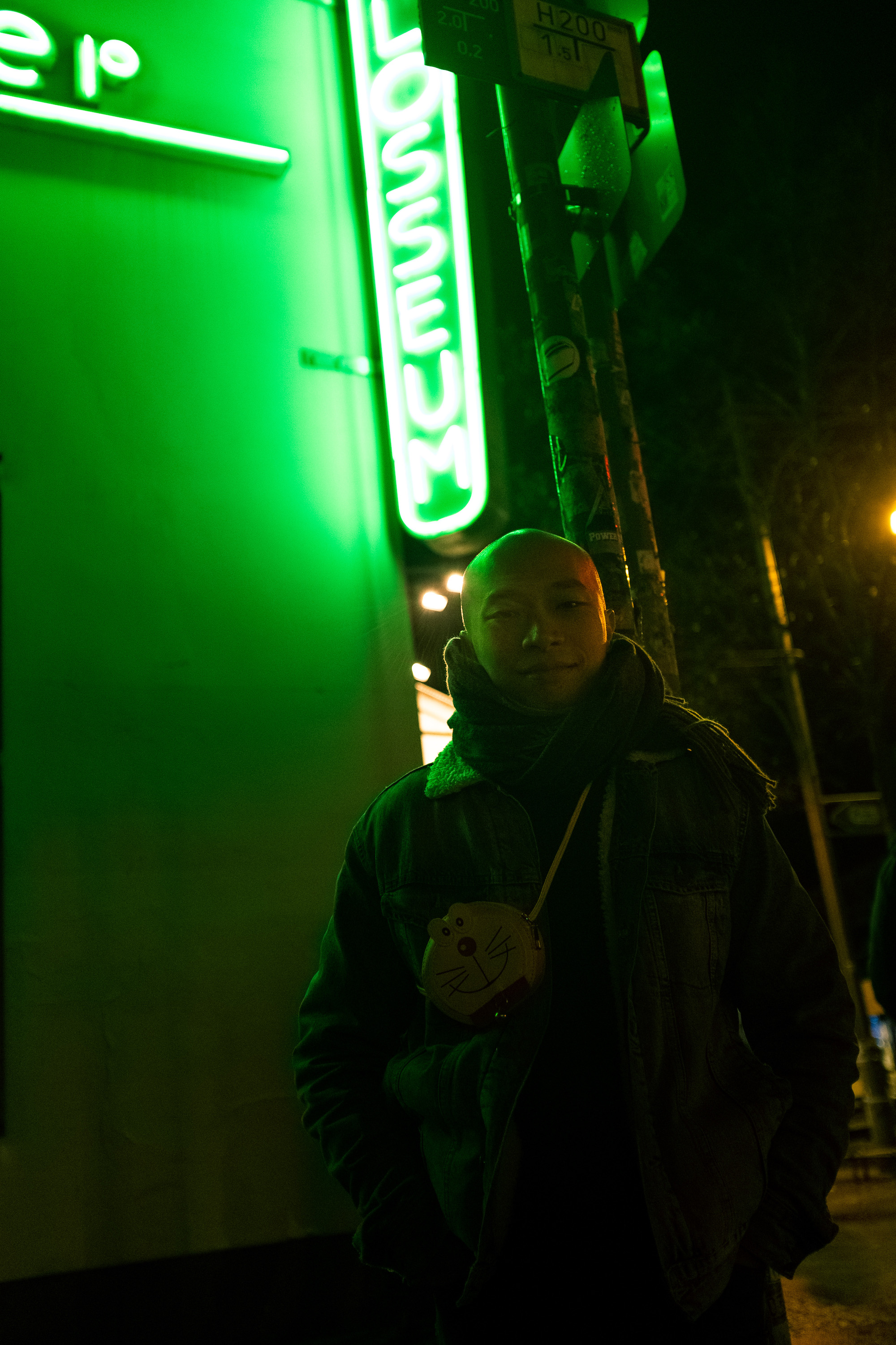 Cheong Kin Man With Neons Behind